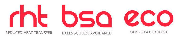 Reduced heat transfer, balls squeeze avoidance, oeko-tex certified.