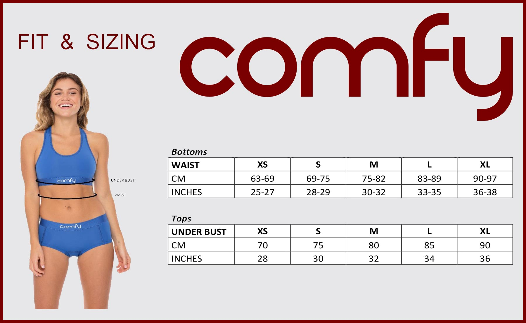 Comfyballs Ladies underwear size chart