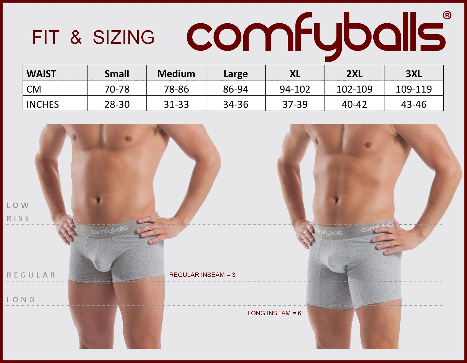 Mens Comfyballs Size Guide